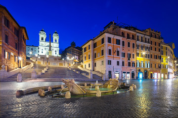 Wall Mural - Night view of Spanish Steps and  Fontana della Barcaccia in Rome, Italy.