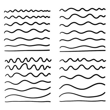 hand drawn Wave line and wavy zigzag pattern lines. Vector black underlines, smooth end squiggly horizontal curvy squiggles isolated