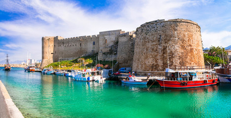 Landmarks of Cyprus - medieval castle and port in in Kyrenia, turkish part of island