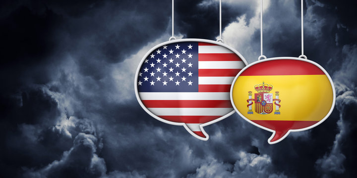 USA and spain communication. Trade negotiation talks. 3D Rednering