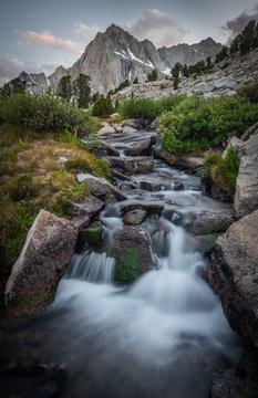Picture Peak and waterfall from Hungry Packer Lake, Inyo National Forest, California, USA