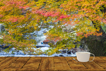 3d rendering of wood table in beautiful place with modern office cup with hot coffee in side background