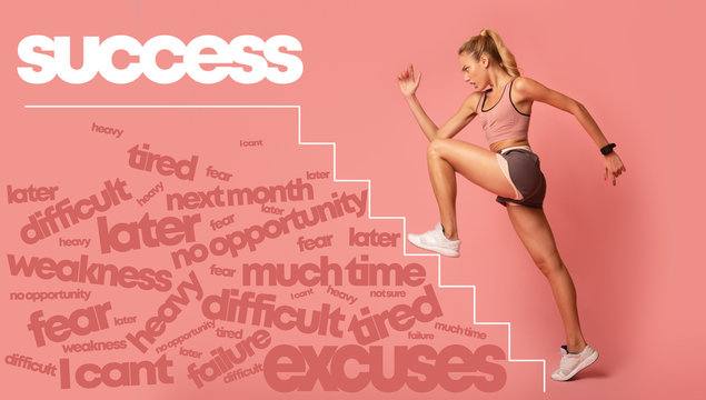 Motivated young woman running by stairs to success lettering