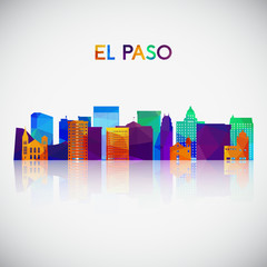 El Paso skyline silhouette in colorful geometric style. Symbol for your design. Vector illustration.
