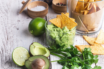 Mexican traditional food, guacamole sauce ingredients  avocado, red onion, cilantro, lime and tortilla corn chips