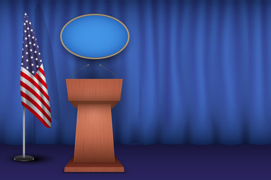 Wooden Podium Speaker Tribune USA White House Interior. Official Speech Place. Politician speaking place with flag of United States of America. Vector Illustration Isolated on white Background.