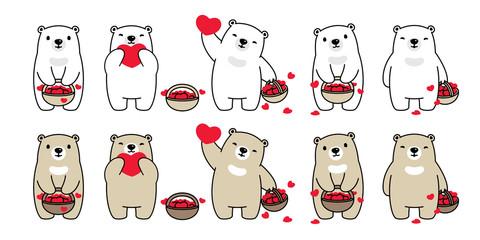 Bear vector heart valentine icon polar bear teddy basket logo symbol character cartoon doodle illustration design