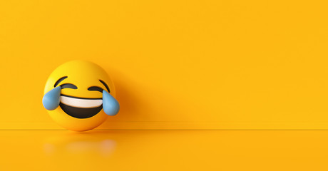 Happy and crying emoticon background, social media and communications concept image, banner size, copyspace for your individual text.