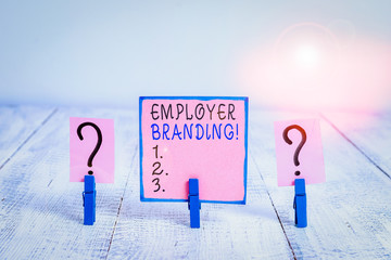 Word writing text Employer Branding. Business photo showcasing promoting company employer choice to...
