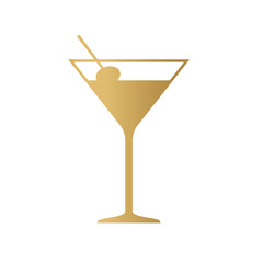 golden coctail glass icon- vector illustration
