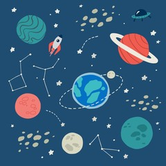 Cartoon galaxy concept. Planets in space. Vector illustration.