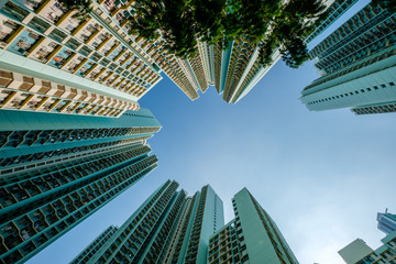 looking up on high-rise apartment building, residential building facade, hongkong Fotomurales