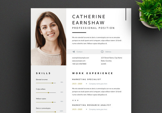 Resume Layout with Grey and Gold Accents