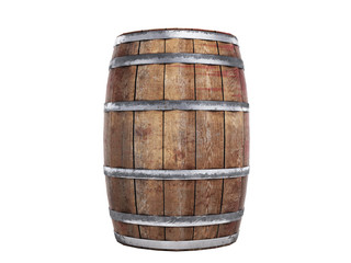 Wooden barrel isolated on white background 3d illustration no shadow