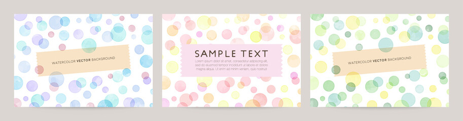 watercolor vector background set : blue pink green dot bubble