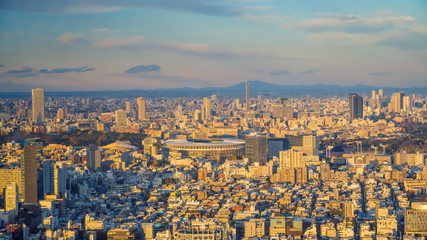 Fotomurales - Top view of Tokyo city skyline  with beautiful sunset