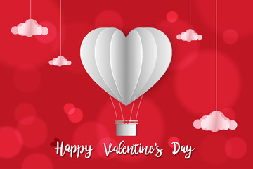 Vector illustration, Paper art of Valentine invitation or greeting card with hot air balloons heart...