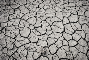 Crack in the sand. Fine art photography. Black and white