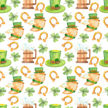 Seamless pattern with clover leaves on a white background. Watercolor pattern with trefoil and four leaf clover. Illustration for St. Patrick's Day. Irish traditions.