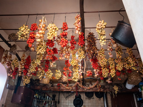 Vesuvius tomatoes called piennolo hung for winter preserves  in a rural kitchen, Naples, Campania, Italy, Europe
