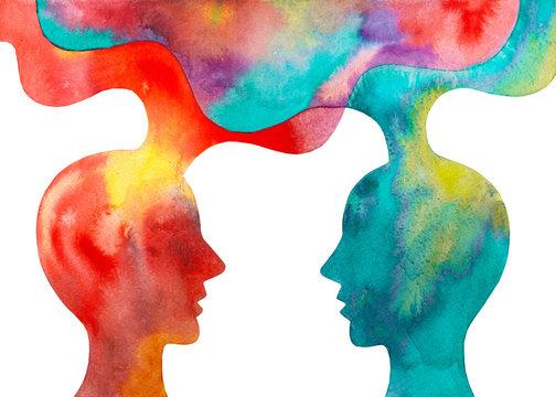 Disegno grafico due persone che si scambiano le idee sfondo bianco