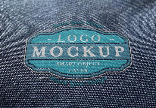 Plastic Logo Mockup on Fabric
