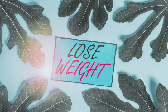 Writing note showing Lose Weight. Business concept for the fact of a demonstrating s is or an animal s is body weight becoming less Leaves surrounding notepaper above empty soft pastel table