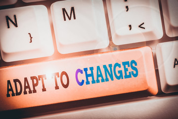 Text sign showing Adapt To Changes. Business photo text Embrace new opportunities Growth Adaptation progress