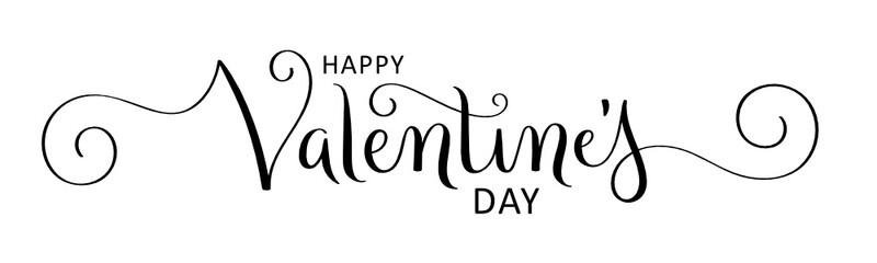 HAPPY VALENTINE'S DAY vector brush calligraphy banner with spirals