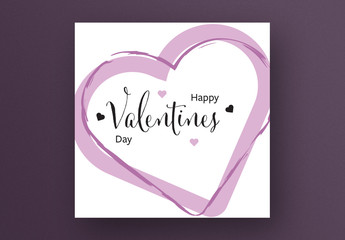 Happy Valentine's Day Card Layout with Rose Color Hearts
