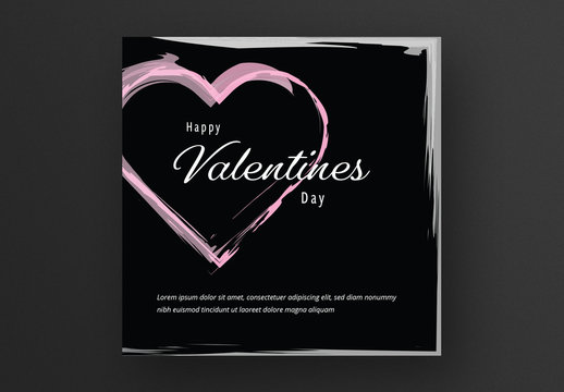 Card Layout with Pink Heart on Black Background