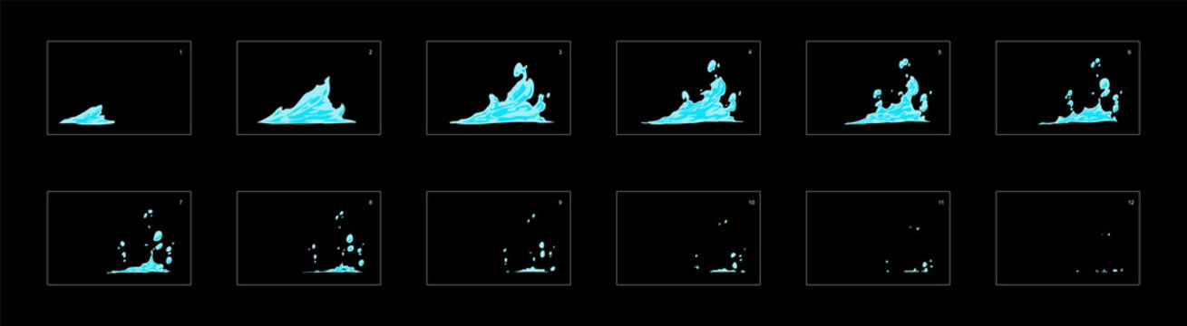 water splash effect. water effect sprite sheet for cartoon, animation, mobile games or motion graphic.