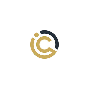 letter IC CI circle icon creative idea . modern initial and clean vector graphic