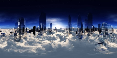 Wall Mural - City landscape. Panorama of clouds, HDRI. equidistant projection. Spherical panorama. panorama 360. environment map