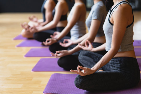 Group of young sporty people practicing yoga class making meditation lotus pose with copy space, Yoga and fitness work out healthcare lifestyle in fitness club
