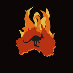 Silhouette of red Australia embraced by fire and the outline of a kangaroo on a black background