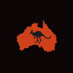 Silhouette of a red Australia and a black outline kangaroo on a black background