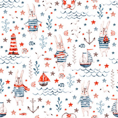 Sailor hand painted bunny. Cute watercolor nautical seamless pattern with rabbit and marine elements for textile, paper and backgrounds. Use for print, t shirt template, fashion wear. Surface design