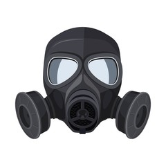 Gas mask. Protection army equipment from toxic and chemical danger for safety. Vector