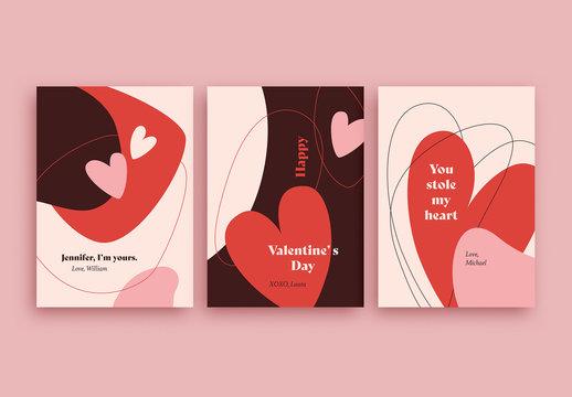 Valentine's Day Card Layout Set
