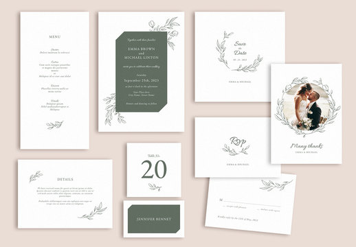 Wedding Suite Layout Set with Leaf Illustrations