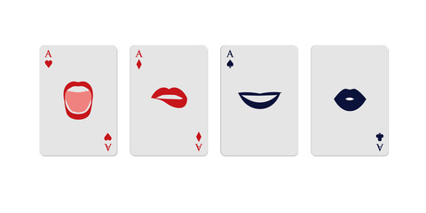 Poker aces represented by gestures in woman's mouths, isolated on white background