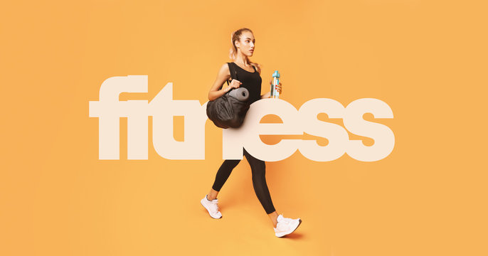 Big fitness inscription over girl going to gym