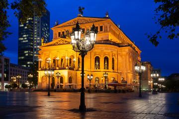 Old opera house in Frankfurt at night