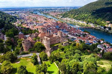 Germany, Baden-Wurttemberg, Aerial view of Heidelberg with castle and river Neckar