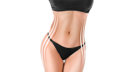 Close up photo of a sporty tanned woman's body with a figure correction lines.