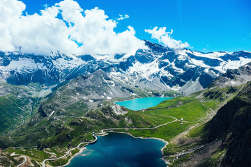 Italy, Piedmont, Gran Paradiso National Park, High angle view of Italian Alps and lakes Fotomurales