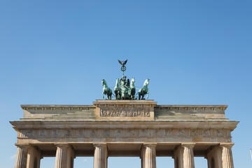 Foto op Aluminium Historisch mon. Germany, Berlin, Low angle view of?Brandenburg Gate?standing against clear blue sky