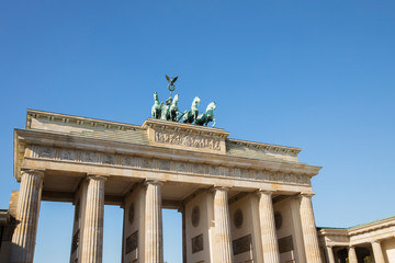 Foto op Plexiglas Historisch mon. Germany, Berlin, Low angle view of?Brandenburg Gate?standing against clear blue sky