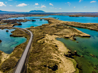 Wall Murals Northern Europe View on Iceland plains and roads.